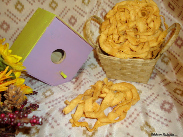 images for Ribbon Pakoda / Ribbon Murukku Recipe / Ola Pakoda Recipe / Ottu Pakoda Recipe / Nada Thenkuzhal Recipe -Diwali Snack