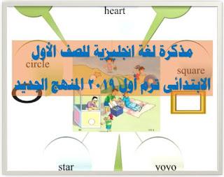 مذكرة لغة انجليزية للصف الاول الابتدائى ترم أول