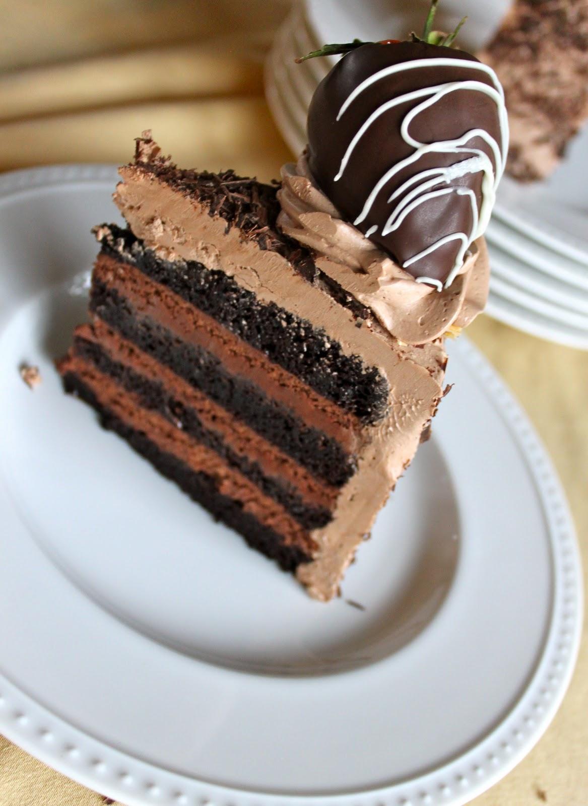 Chocolate Mousse Cake Slice I used my go to chocolate cake