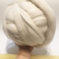 超極太メリノウール毛糸-Bicky クリーミーホワイト (500g/1kg 大玉)