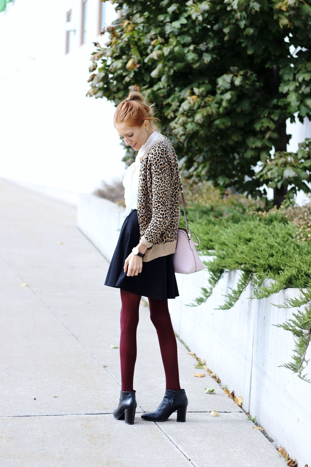 Fall style- Target leopard cardigan, Rachel's Box burgundy tights, blush Kate Spade Maise