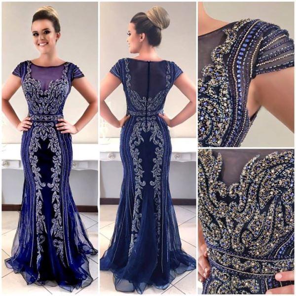 vestido de festa azul  bordado