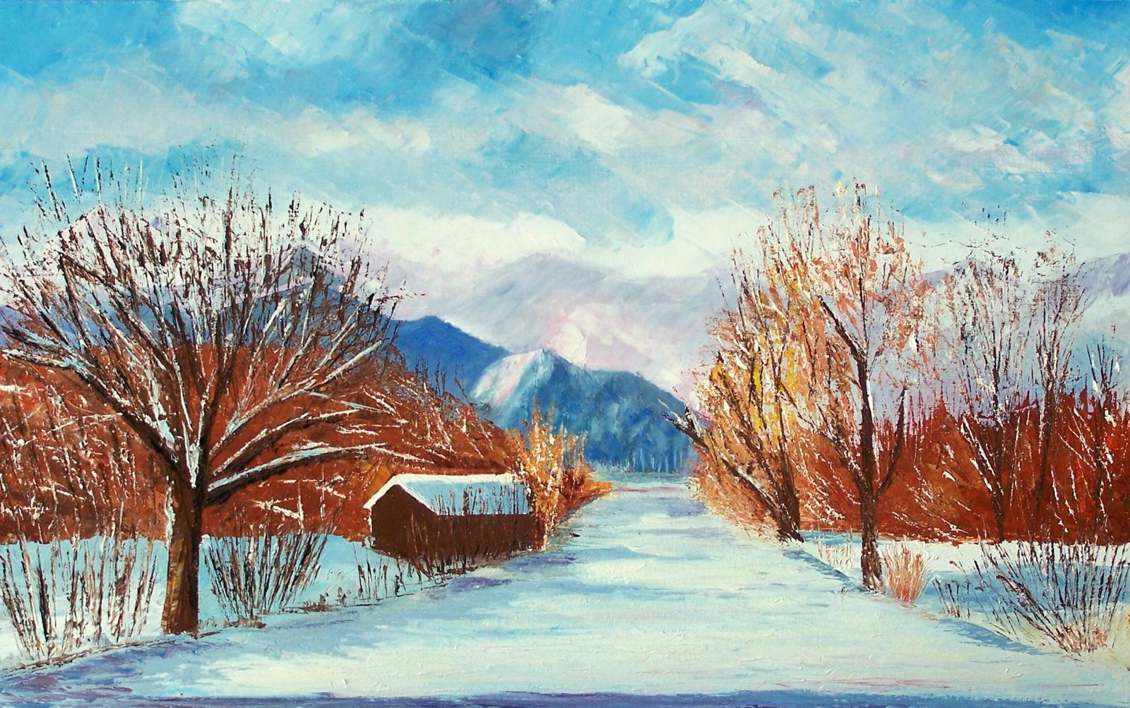 paysage d 39 hiver peinture fonds d 39 cran hd. Black Bedroom Furniture Sets. Home Design Ideas