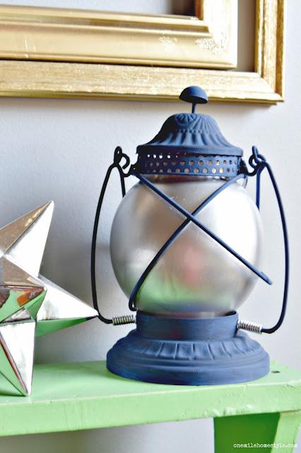 Rustic navy blue lantern