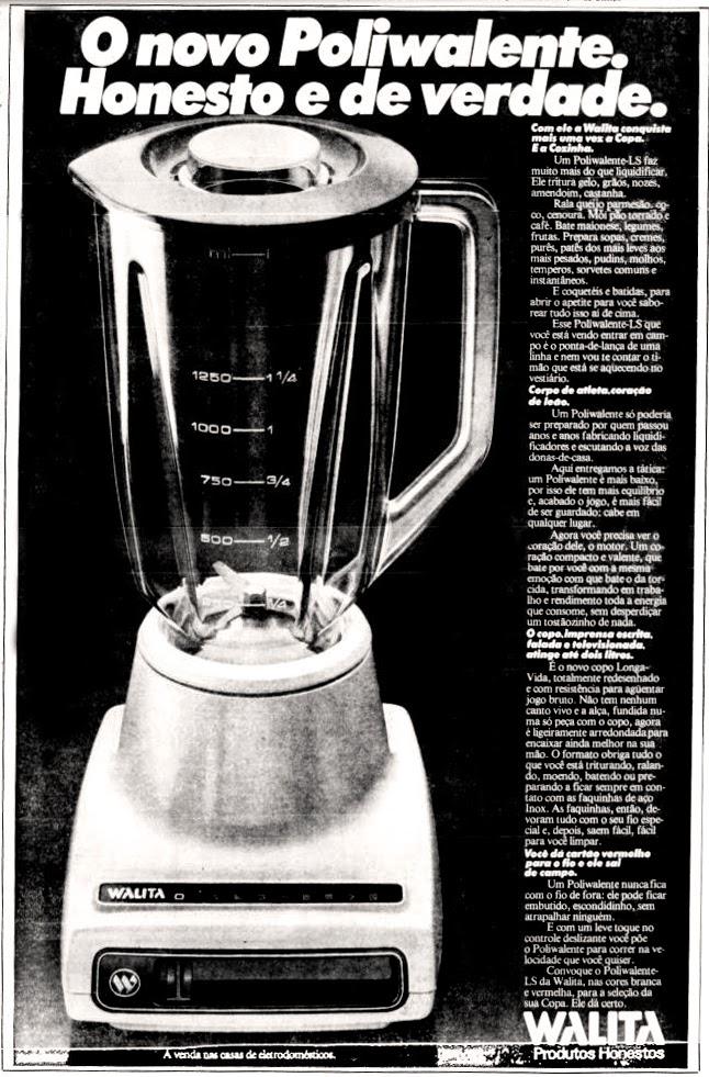 Propaganda antiga da Walita apresentando seu modelo clássico de liquidificador no final dos anos 70