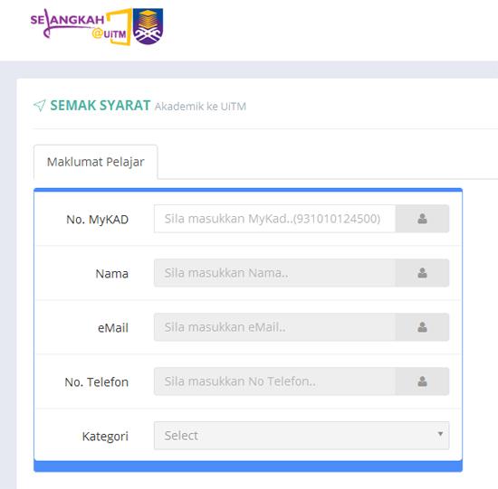 Semakan Syarat Calon SPM/STPM/Diploma Masuk UITM