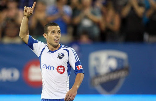 Montreal Impact midfielder Felipe Martins celebrates after scoring against Philadelphia Union
