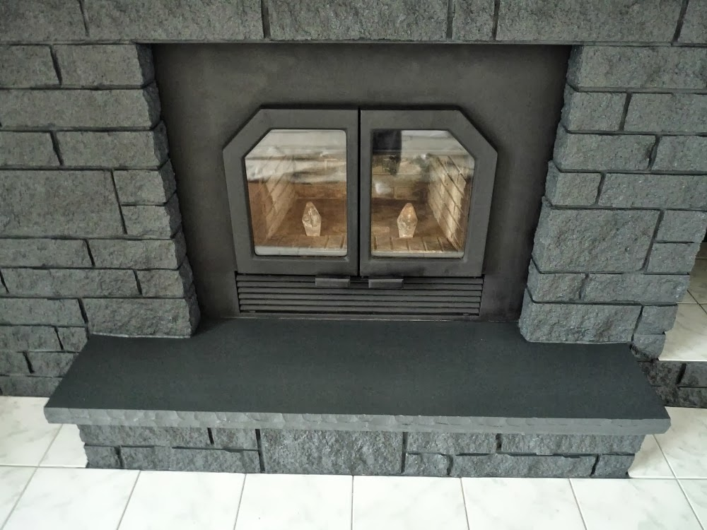 Endearing 90 grey stone fireplace design inspiration of for Grey stone fireplace