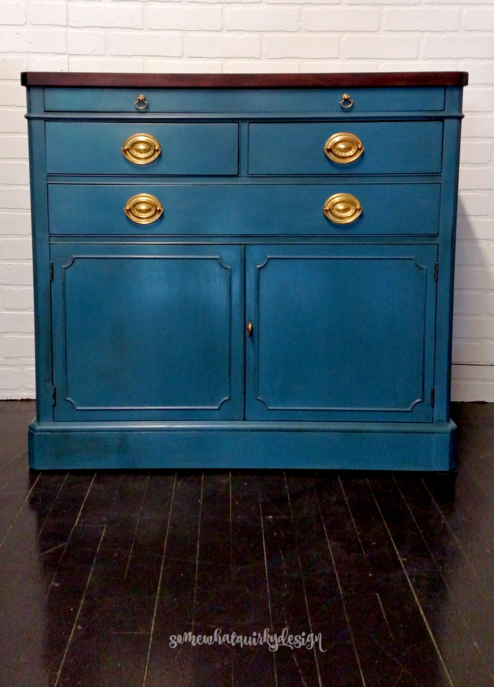 somewhat quirky refreshing a sideboard with aubusson blue. Black Bedroom Furniture Sets. Home Design Ideas