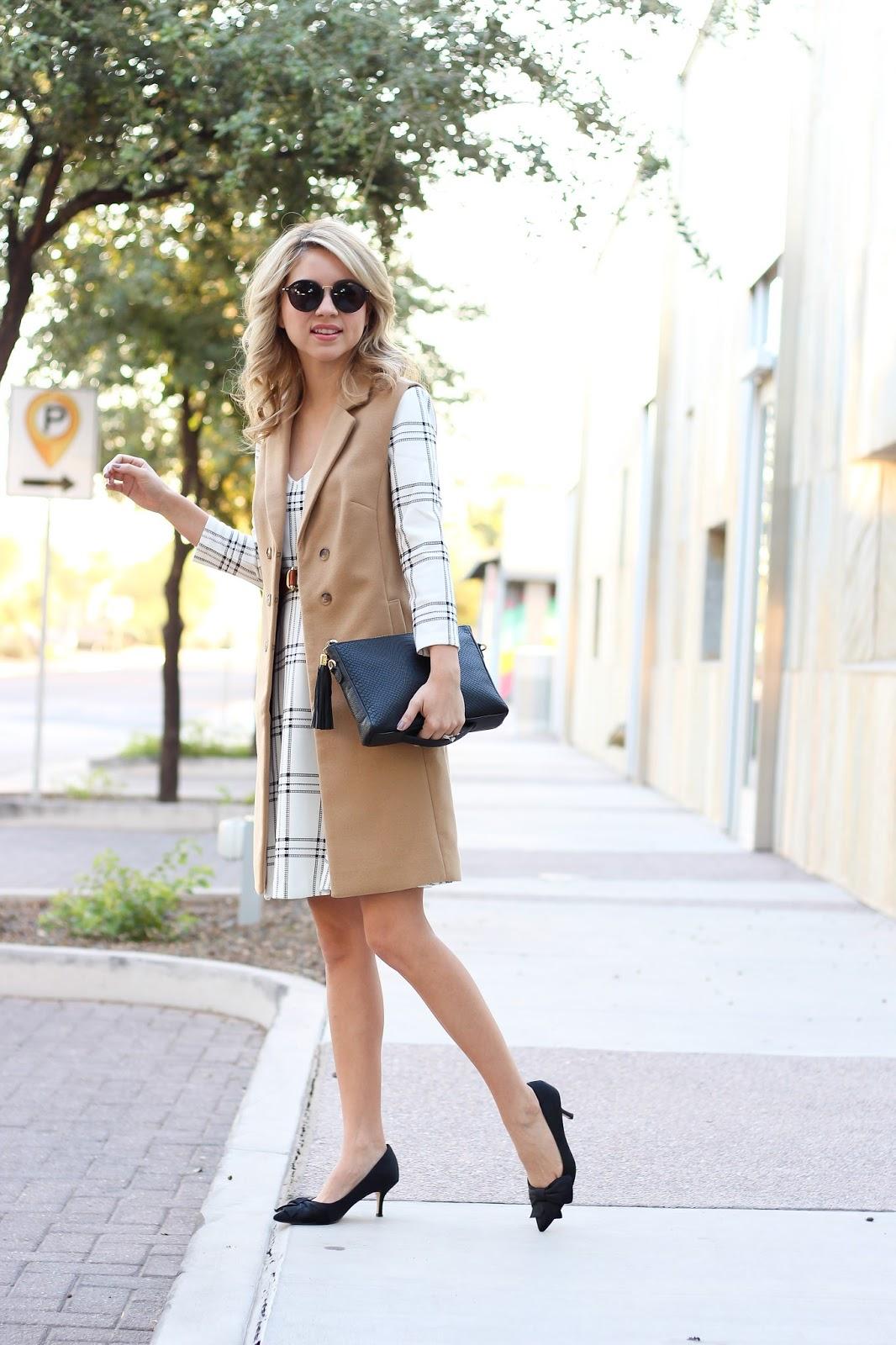 How to elevate your plaid dress - maison jules dress - maison jules vest - macs - blogger style - street style