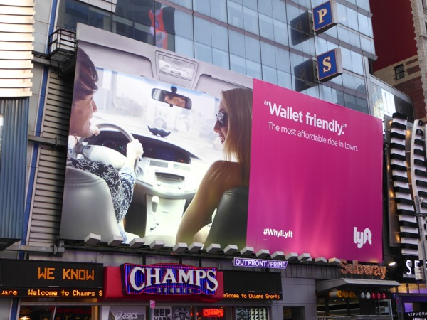 Lyft Wallet friendly billboard Times Square NYC