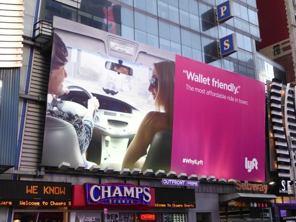 Lyft Wallet friendly billboard Times Square NYC