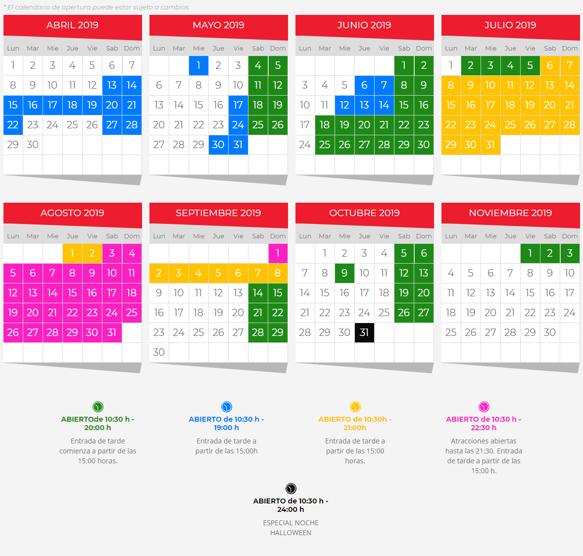 Calendario de Apertura Terra Mítica 2019