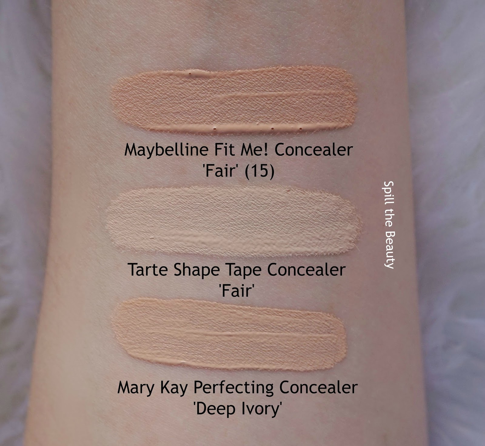 Tarte Shape Tape Contour Concealer fair Review Comparison Swatches Before and After dupe maybelline fit me mary kay