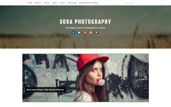 Sora Photography Free Blogger Template