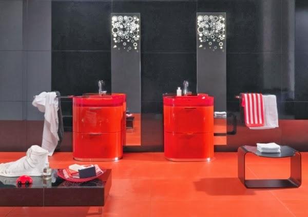 decorar baño negro rojo