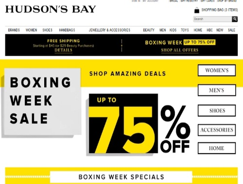 Hudson's Bay Boxing Week Sale Up To 75% Off