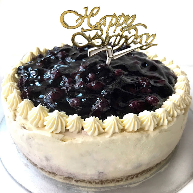 Sherbakes Non Bake Blueberry Swirl Cheesecake