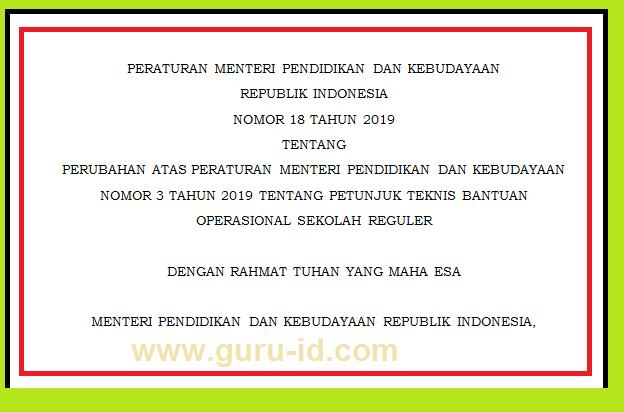 permendikbud nomor 18 tahun 2019