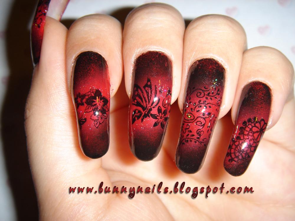 Bunny Nails: Red and Black Gradation Nail Art