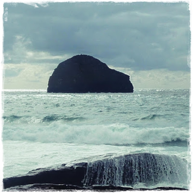 Gull Rock at Trebarwith Strand in Cornwall