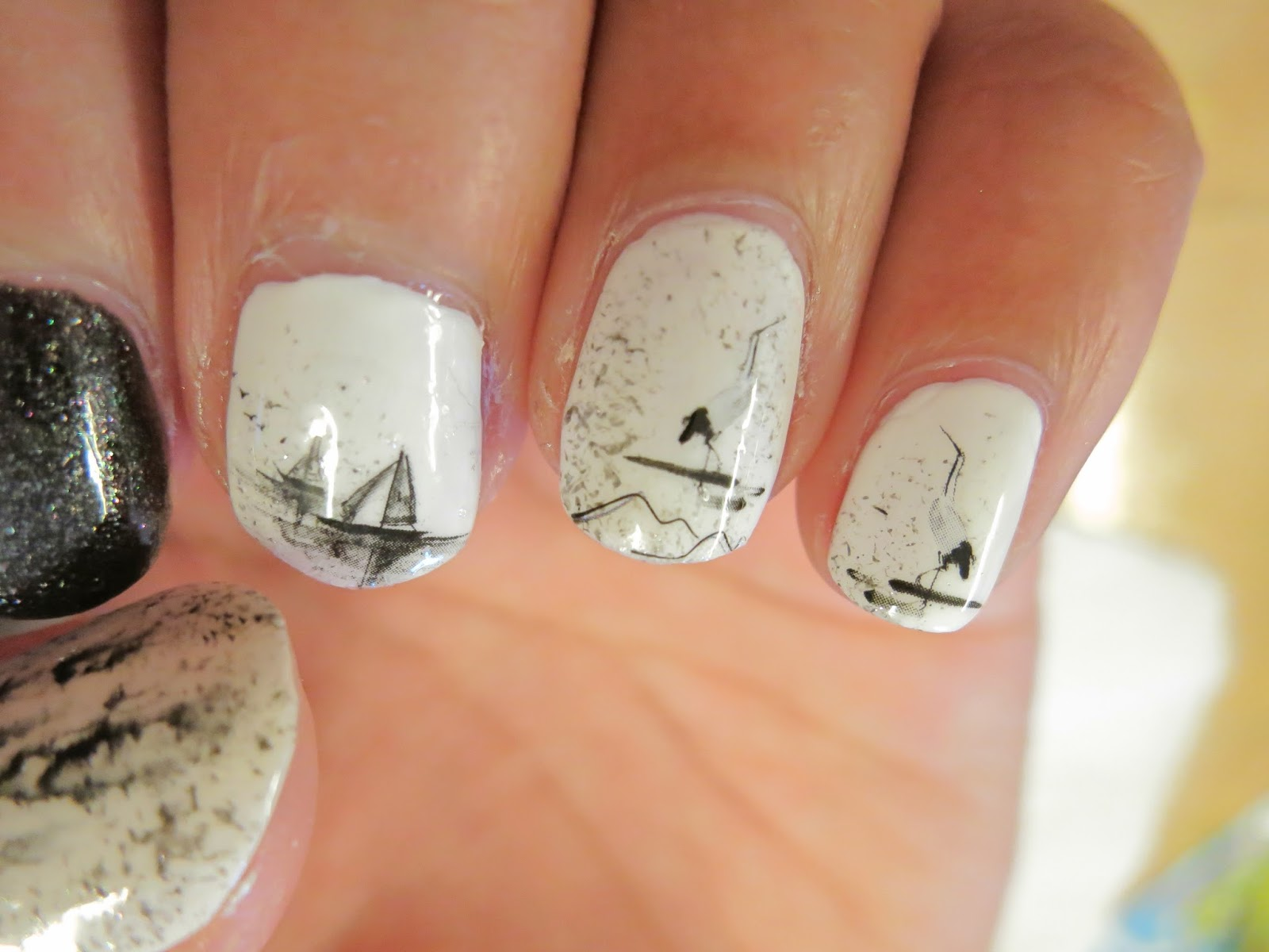 Crane and Sail Boats Chinese Paintings Water Decal Nail Art BLE1815 ...