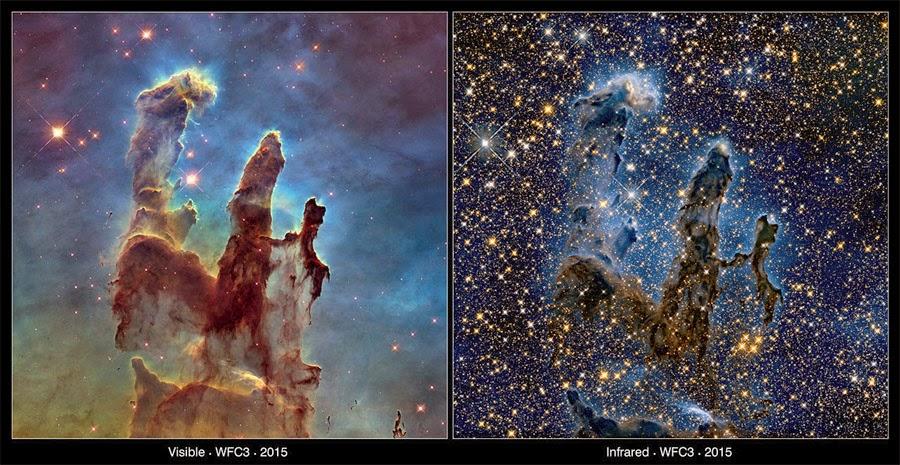 novas imagens da nebulosa Pilares da Criação