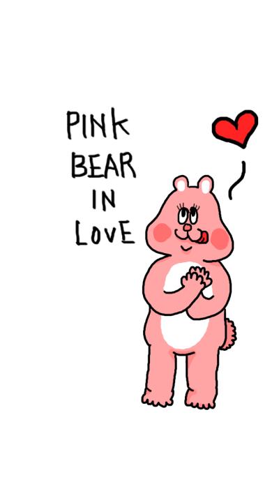 Pink bear in love