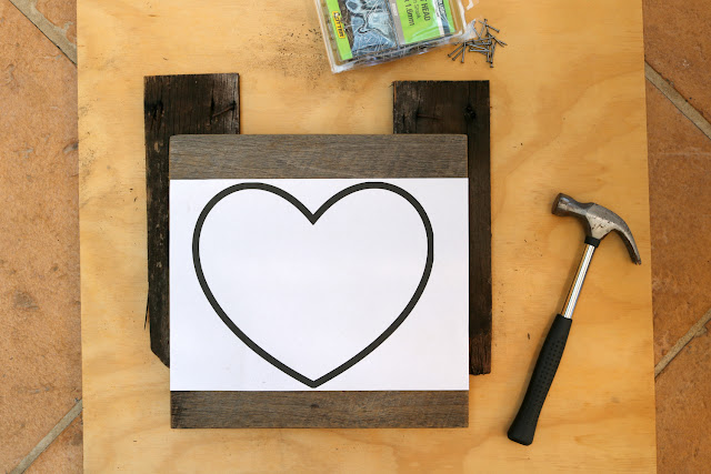 DIY Heart String Art Tutorial - How to Make String Art on Recycled Pallet Wood Boards - Free Heart Template