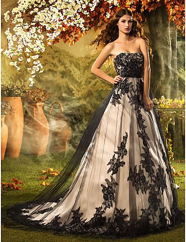 Vestido de Novia Blanco y Negro Corte Princesa