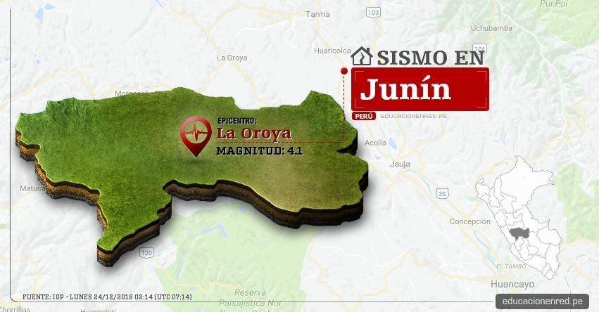 Temblor en Junín de Magnitud 4.1 (Hoy Lunes 24 Diciembre 2018) Sismo Epicentro La Oroya - Yauli - IGP - www.igp.gob.pe