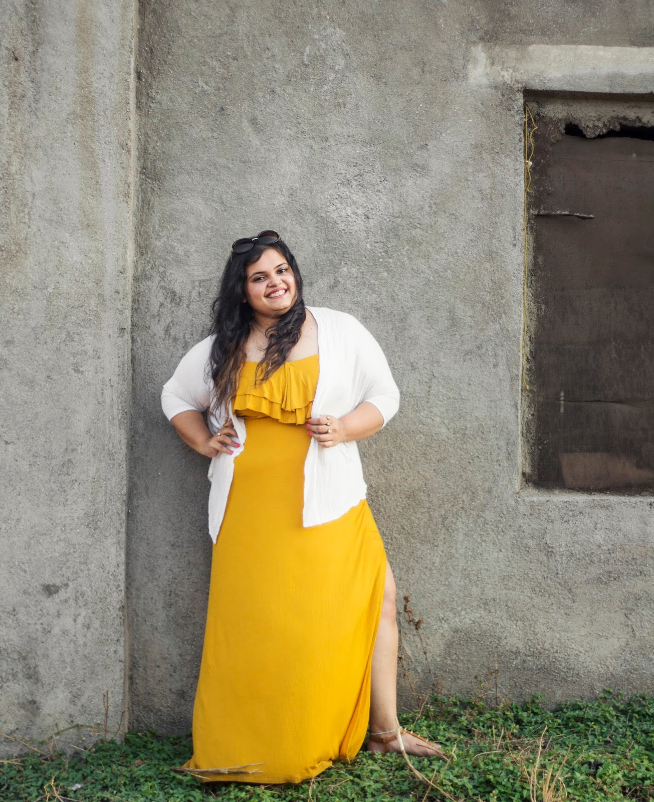 yellow maxi dress white shrug summer outfit
