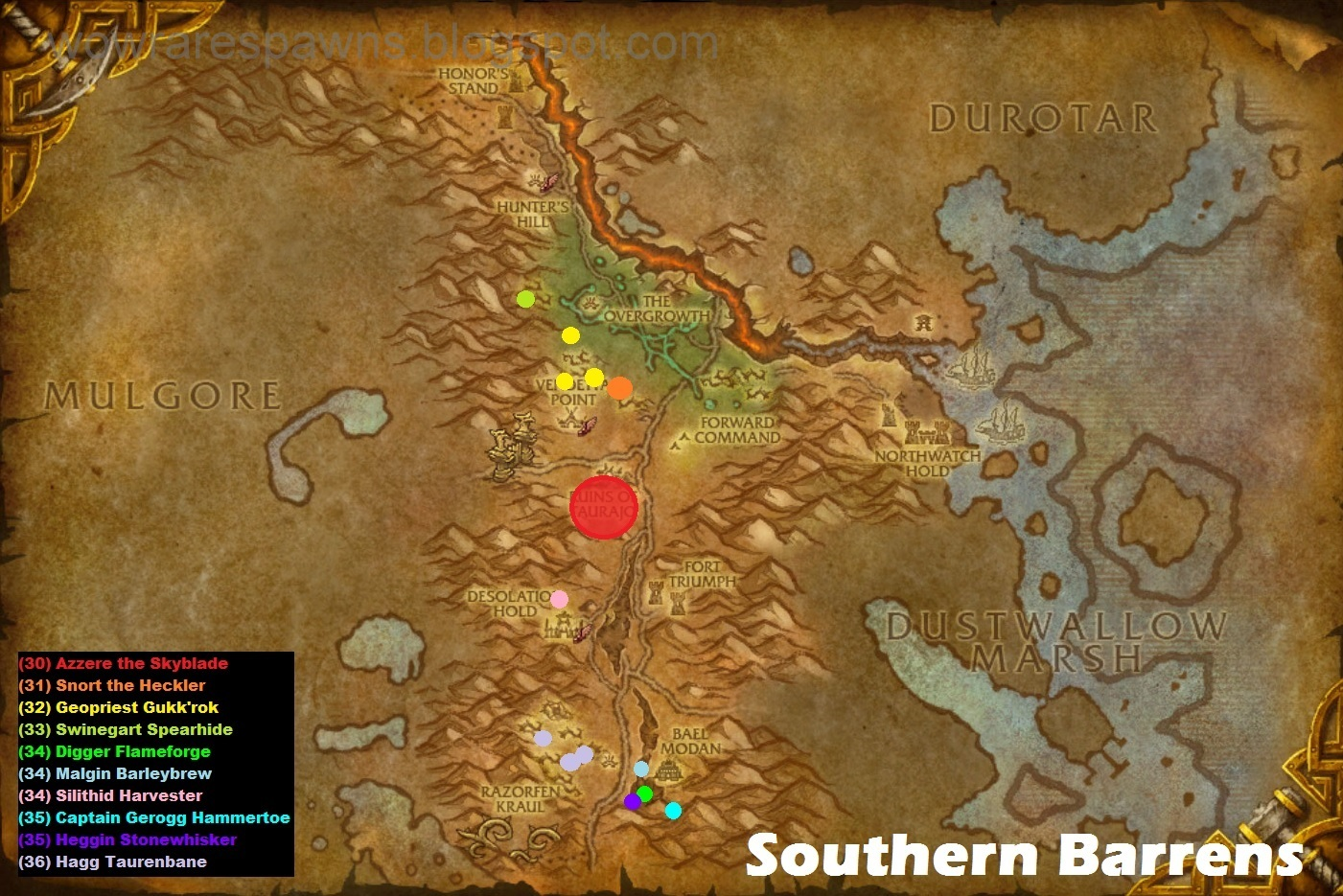 World Of Warcraft Rare Hunter Pet Locations Southern Barrens Youtube