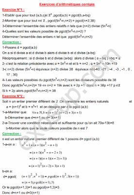 7 Exercices corrigés d'arithmétiques Mathématiques pour la chimie SMC S3