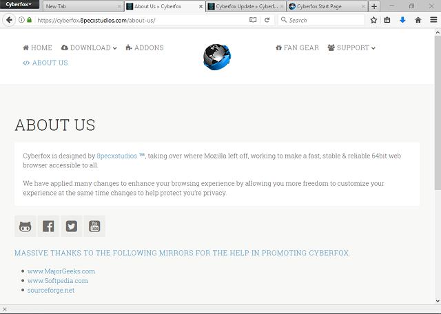 تحميل متصفح مواقع الويب سيبر فوكس Cyberfox 52.7.2 مجانا