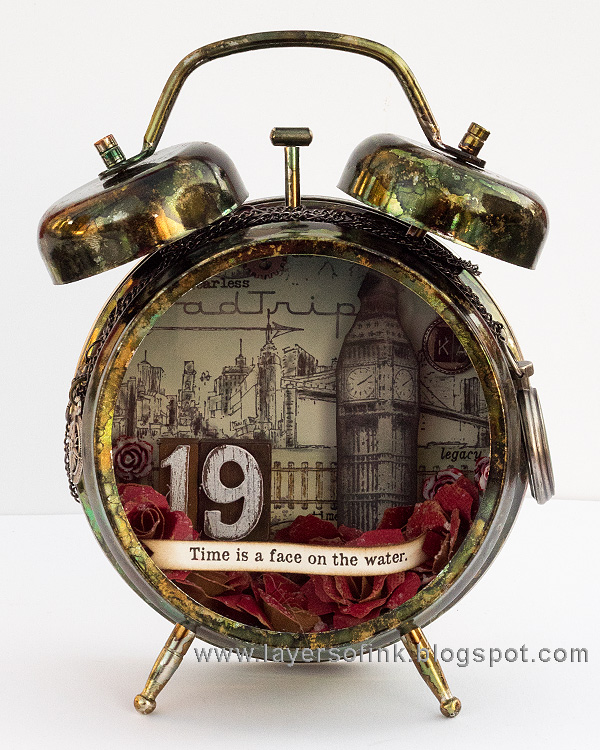Layers of ink - Dark Tower Assemblage Clock by Anna-Karin Evaldsson
