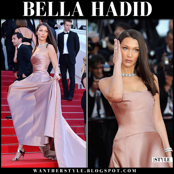 Bella Hadid in dusky pink satin gown dior cannes film festival fashion 2018