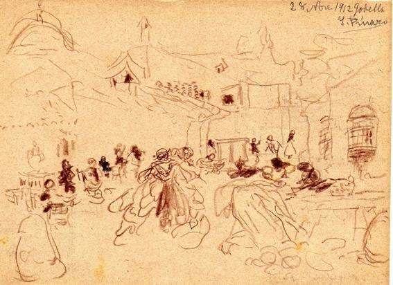 Dibuix d'Ignasi Pinazo de la portada del llibret (Casa Museu Pinazo)