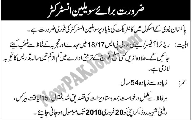 Jobs as instructor in Pakistan Navy School 11 Feb 2018