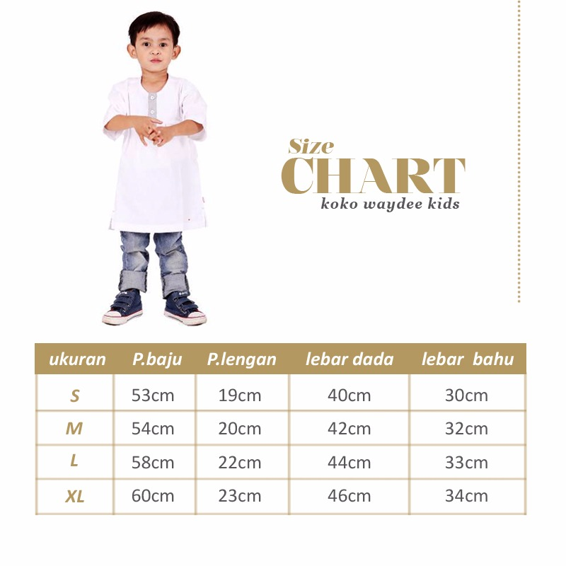 Ukuran baju koko anak-anak