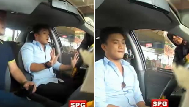 EA Guzman confronting the Police inside the car.