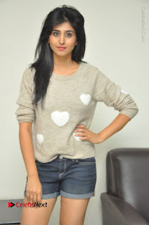 Actress Model Shamili (Varshini Sounderajan) Stills in Denim Shorts at Swachh Hyderabad Cricket Press Meet  0019.JPG