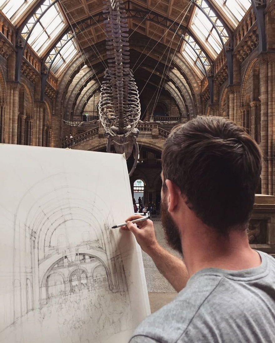 01-The-Natural-History-Museum-Hintze-Hall-London-Luke-Adam-Hawker-Architectural-Illustration-of-Imposing-Buildings-www-designstack-co