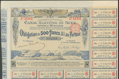 1885 bond from the Cie Universelle du Canal Maritime de Suez