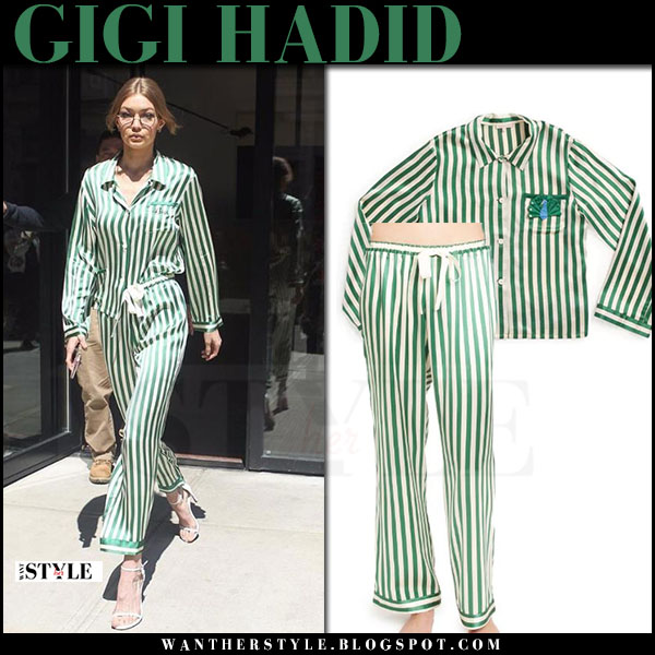 Gigi Hadid in green striped satin pyjama shirt and pants morgan lane what she wore april 2017
