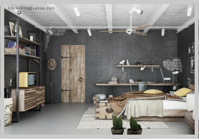 Decoración con ventiladores: habitación  de estilo industrial