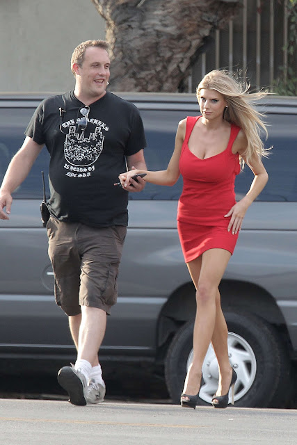 Charlotte Mckinney in Red Mini Dress out in LA