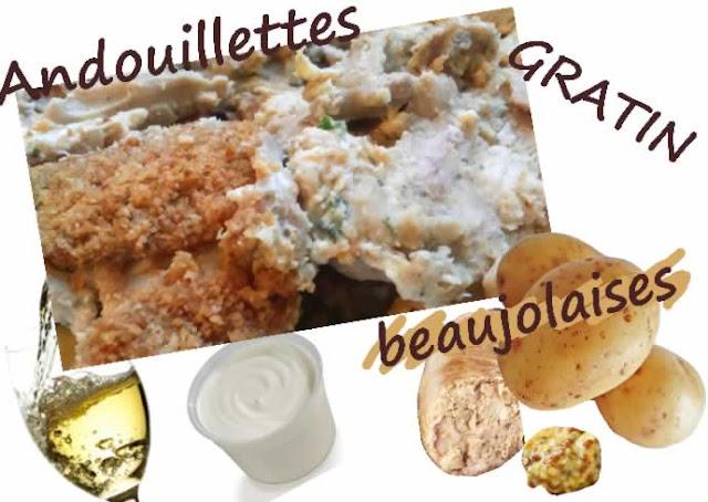 andouillettes en gratin de pommes de terre, crème, moutarde, vin blanc