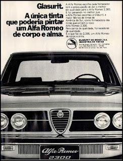 propaganda tintas Glasurit - Alfa Romeo 2.300 - 1974, Alfa Romeo 74, propaganda carros anos 70, carros década de 70, Oswaldo Hernandez,