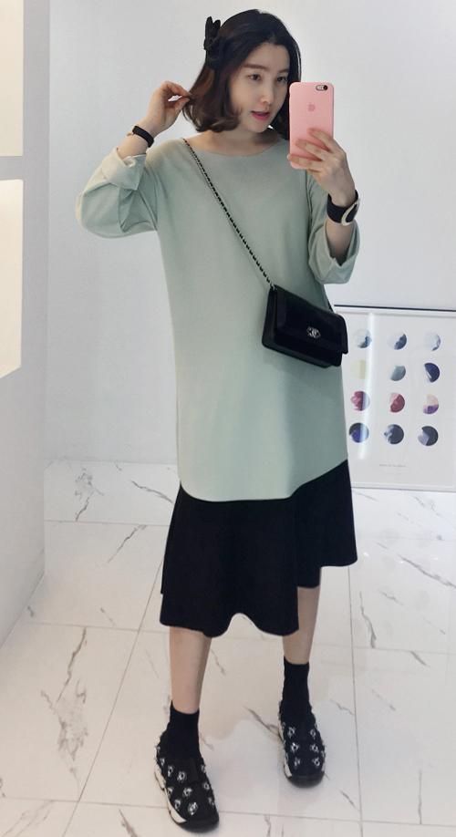 Two-Tone Midi Dress